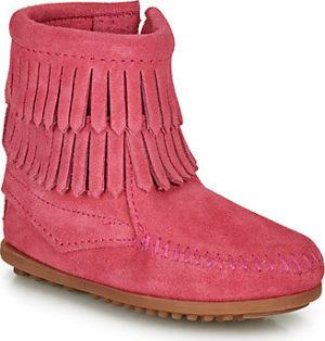 Minnetonka Kotníkové boty Dětské DOUBLE FRINGE SIDE ZIP BOOT Růžová